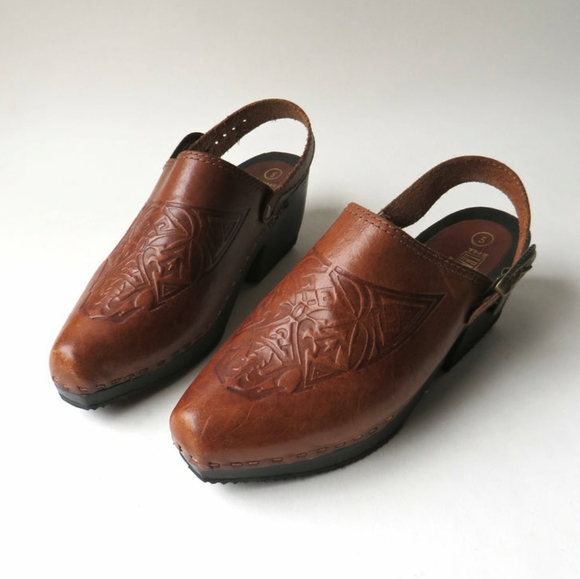 VTG 80s The Leather Collection Slingback Clogs